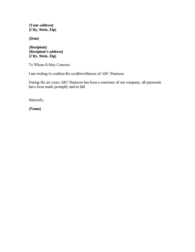 Credit reference letter template for businesses spiritdancerdesigns Gallery