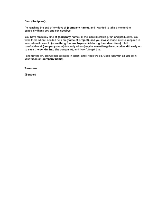 funny farewell letter to co workers sample   just b.CAUSE
