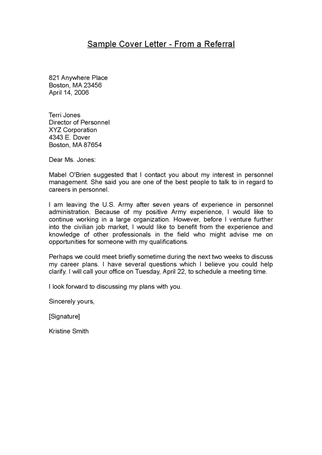 Cover letter example cover letter example referral for I was referred to you by cover letter