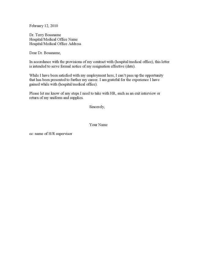 Part Time Job Resignation Letter Simple Template Simple – Nursing Resignation Letter