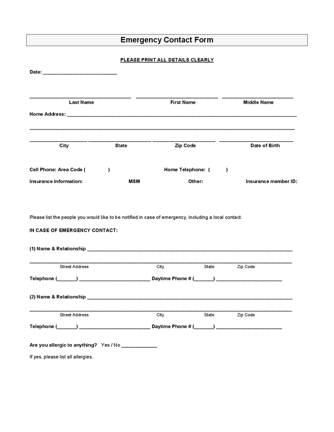 employee emergency contact information form Success