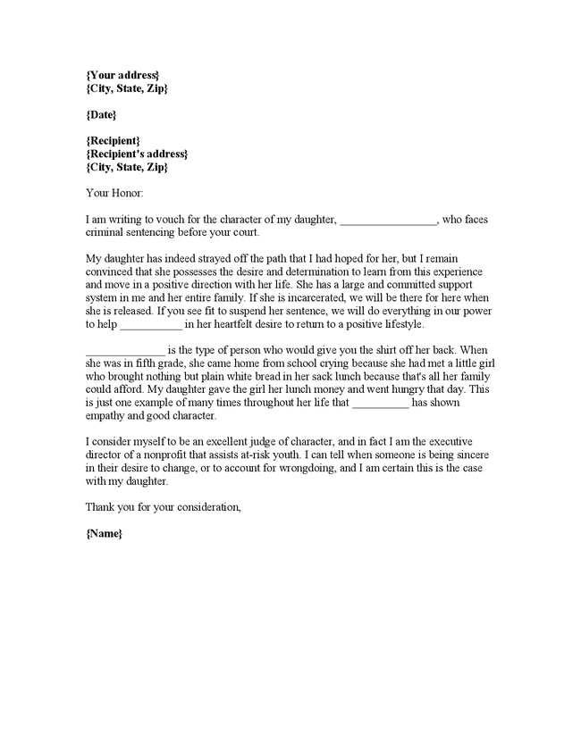 Character Reference Letter For Court Custody #5