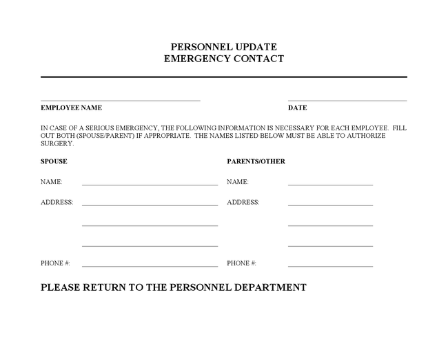 employment emergency contact form