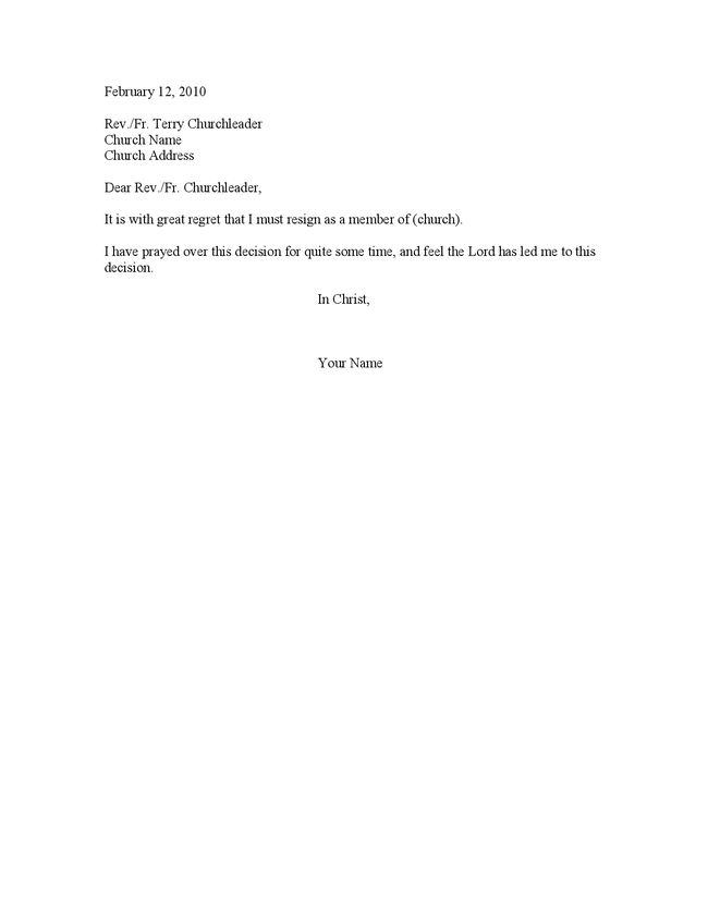 sample church resignation letter