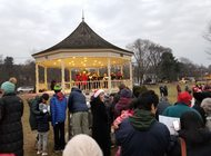 Christmas Caroling by the Lexington bandstand, Hastings Park