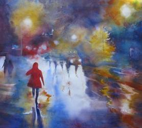 Wendy Hale, Demonstration in Watercolor,  Reflected Lights in City Night Scenes