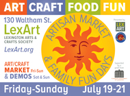 Artisan Market, July 19-21 Art, Craft, Food and Fun