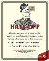 Complimentary Haircuts for Veterans & Active Duty Military on Veterans Day