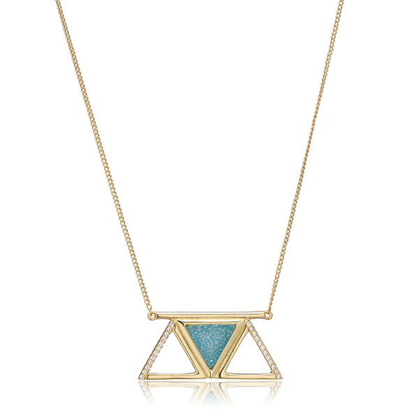 Blue Druzy Necklace by FEMME ROX