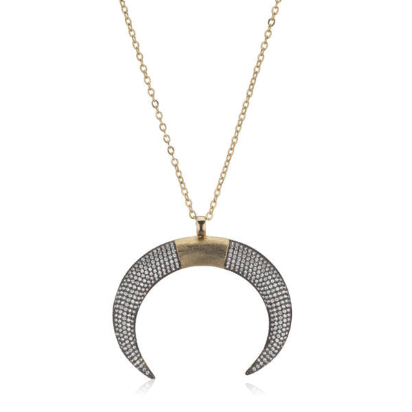 Mixmetal Double Horn Necklace by Marcia Moran