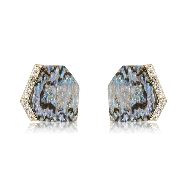 Abalone Geometric Stud Earrings by MARCIA MORAN