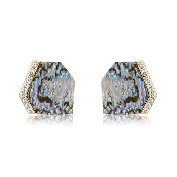 Abalone Geometric Stud Earrings by Marcia Moran