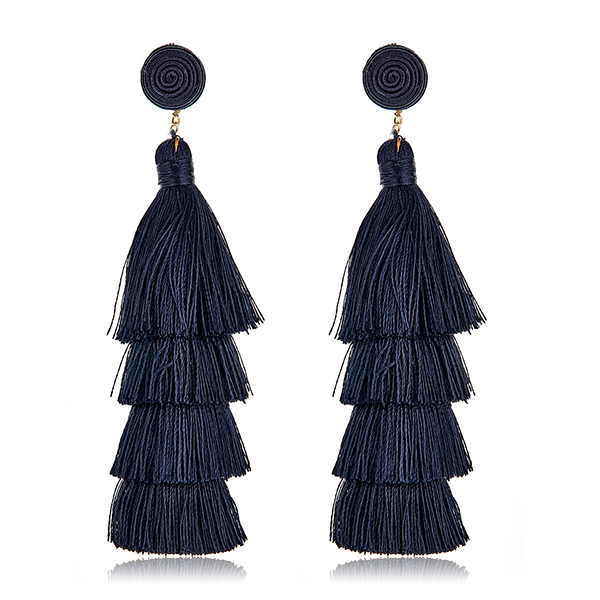 Black Tiered Tassel Earrings by SUZANNA DAI