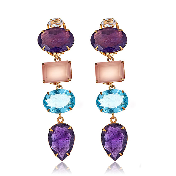 Amethyst Rose Quartz Earrings  by BOUNKIT