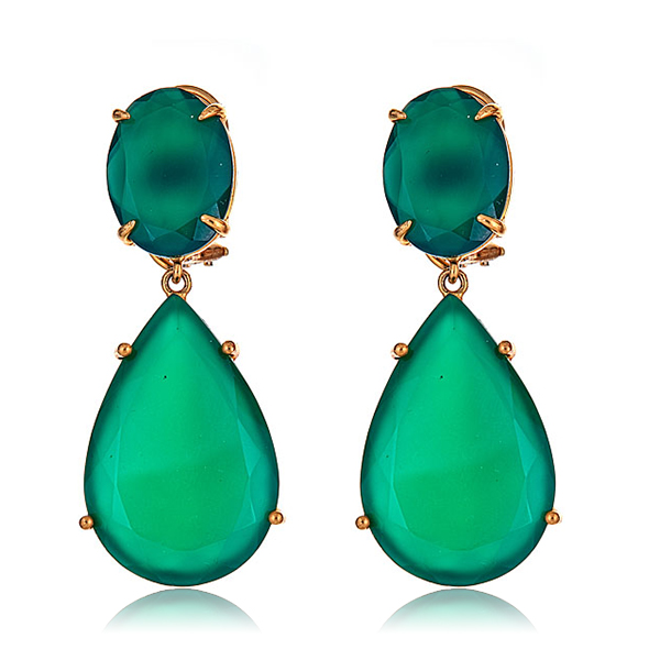 Angelina Green Onyx Earrings by BOUNKIT