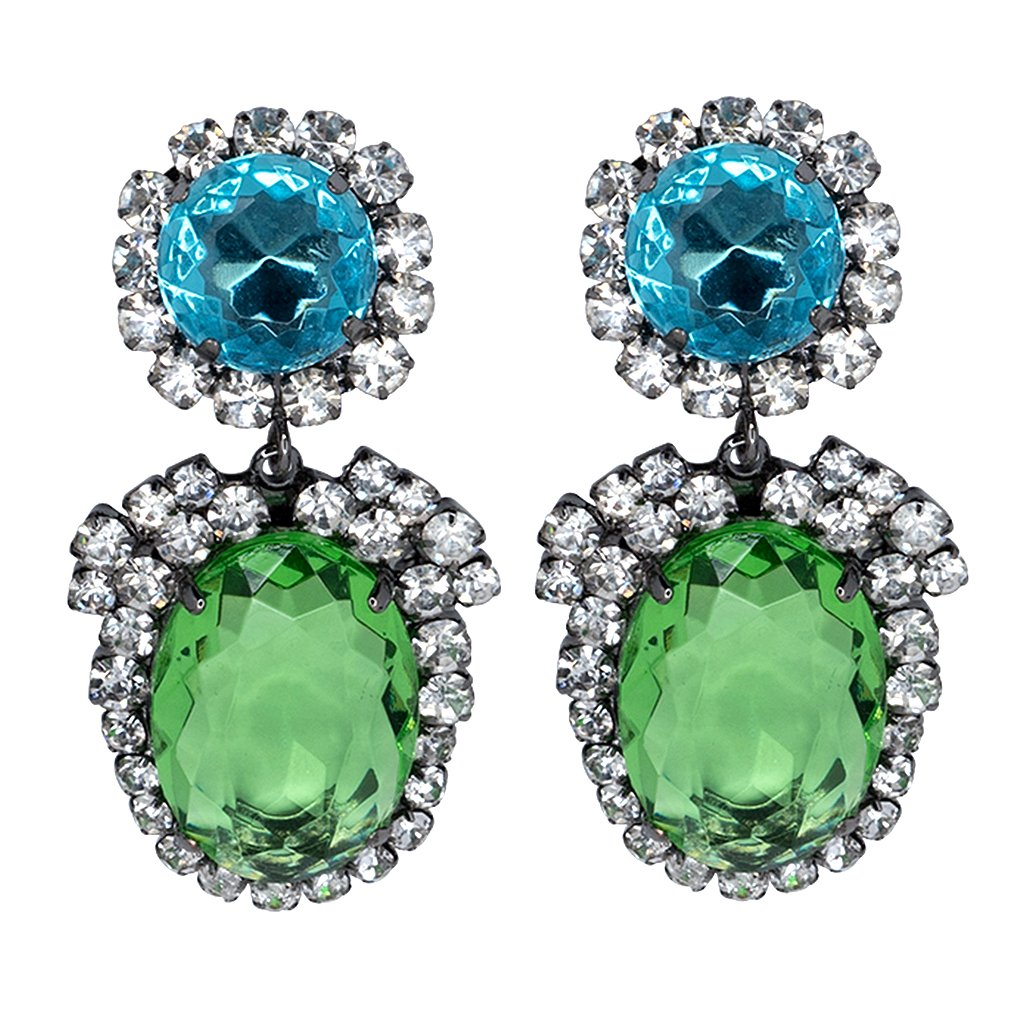 Aqua Peridot Crystal Earrings by KENNETH JAY LANE