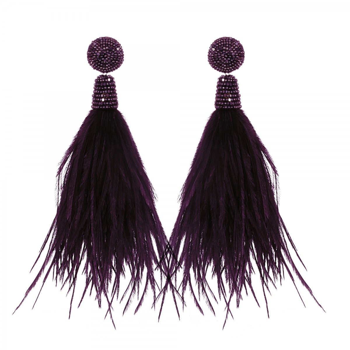 Aubergine Feather Earrings by SUZANNA DAI