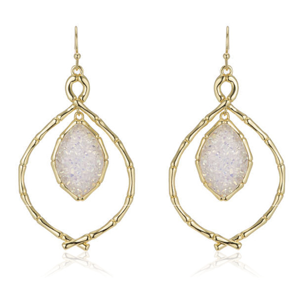 Bamboo Druzy Earrings by MARCIA MORAN