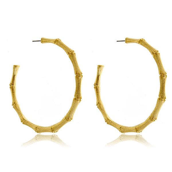 Kenneth Jay Lane Bamboo Hoop Earrings aruMqURl