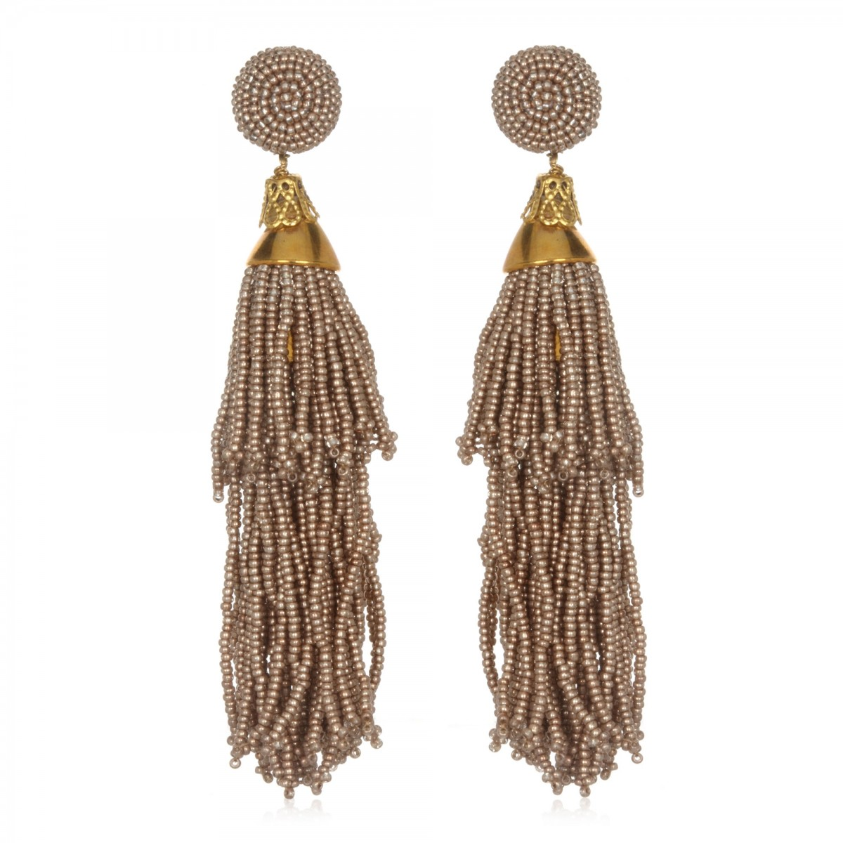 Beaded Double Tassel Earrings by SUZANNA DAI