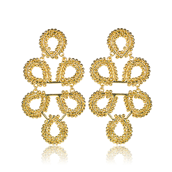 Beaded Ginger Gold Earrings by LISI LERCH