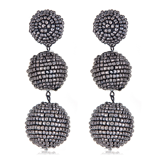 Beaded Gunmetal Disco Earrings by KENNETH JAY LANE