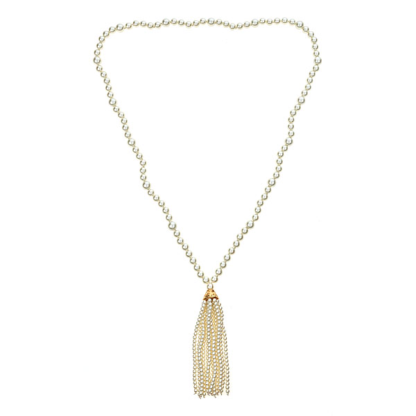 Beaded Pearl Tassel Necklace by KENNETH JAY LANE