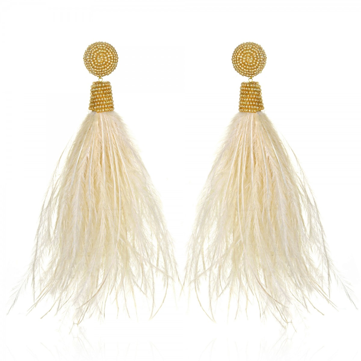 Beige Feather Earrings by SUZANNA DAI