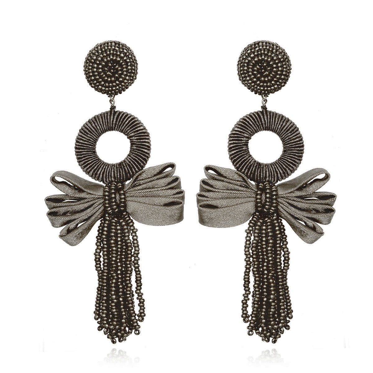 Beijing Charcoal Bow Earrings by SUZANNA DAI