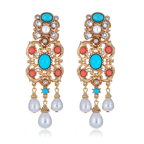 Turquoise Coral Drop Earrings by BEN-AMUN