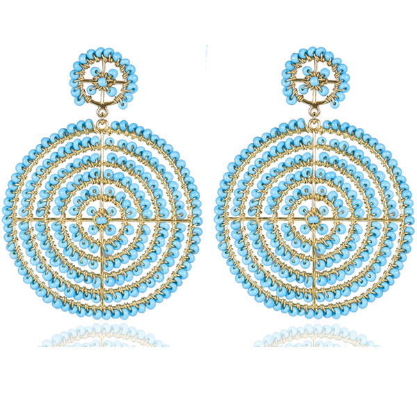 Turquoise Disk Earrings by LISI LERCH