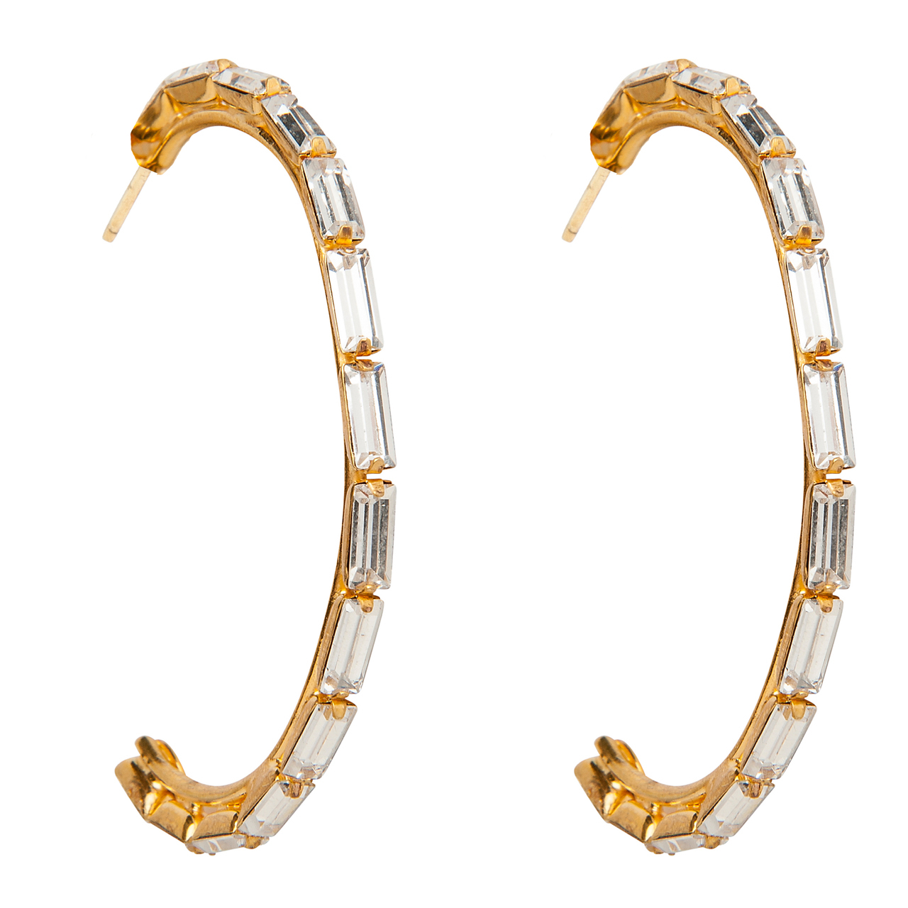 Bezel Set CZ Hoop Earrings by BOUNKIT