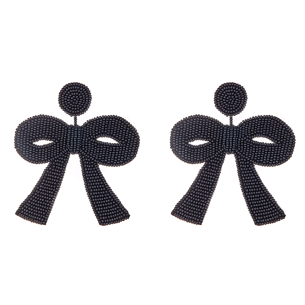 Large Black Bow Earrings by FRENCH AND FORD