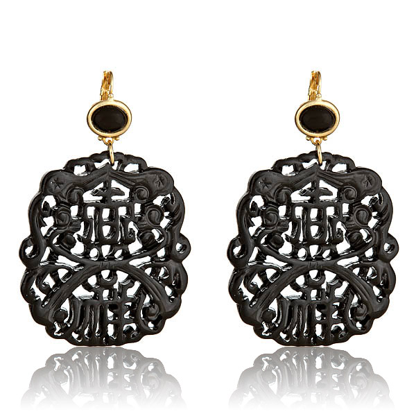 Black Carved Earrings by KENETH JAY LANE