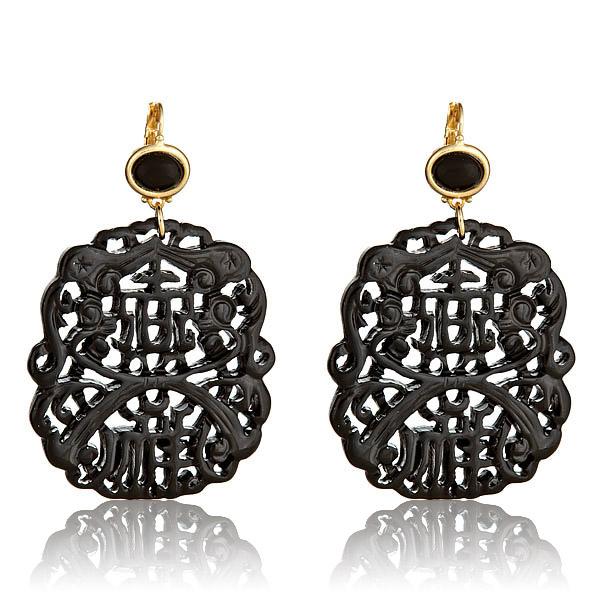 Black Carved Earrings by Keneth Jay Lane