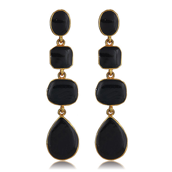 Black Enamel Drop Earrings by KENNETH JAY LANE