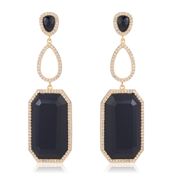 Black Onyx Drop Earrings by Marcia Moran