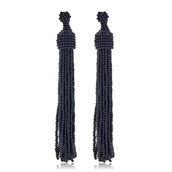 Black Seed Bead Tassel Earrings by KENNETH JAY LANE