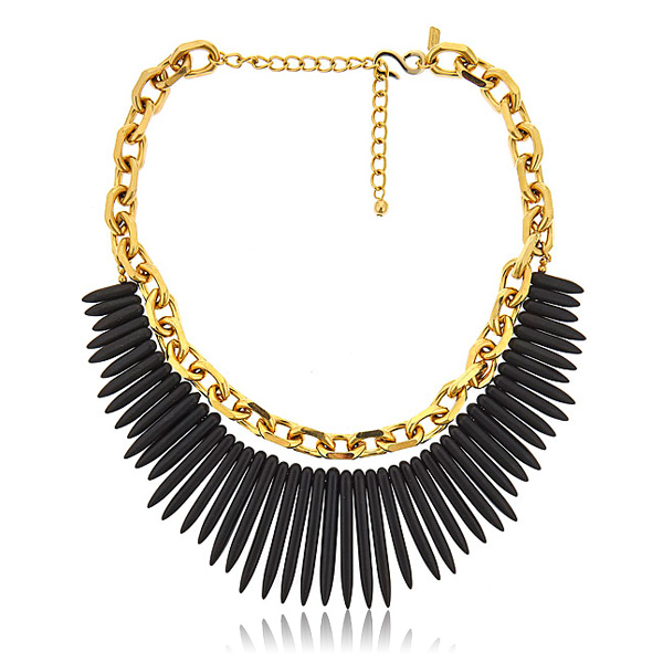 Black Spike and Link Necklace by KENNETH JAY LANE