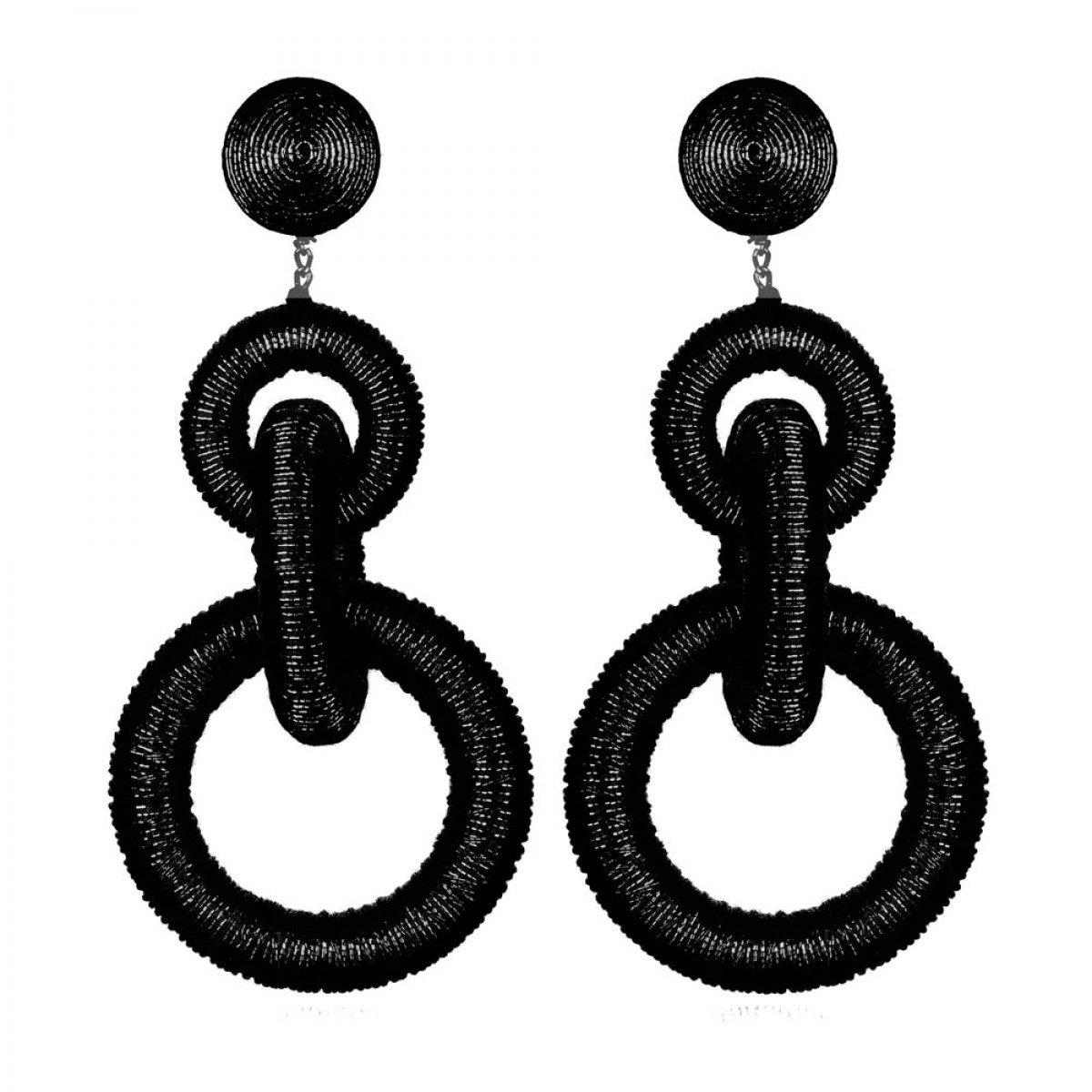 Black Three Tier Hoop Earrings by SUZANNA DAI