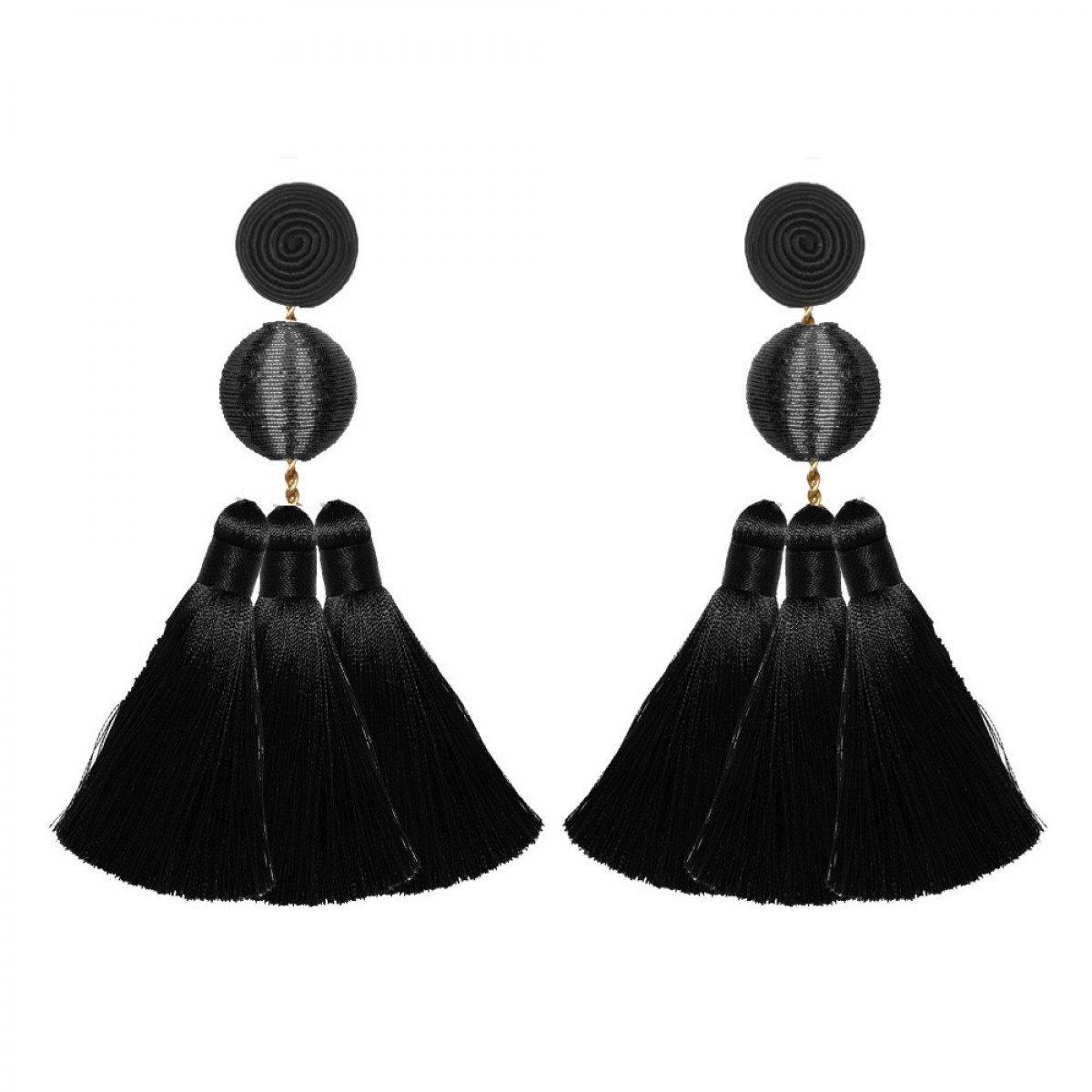 Black Triple Tassel Earrings by SUZANNA DAI