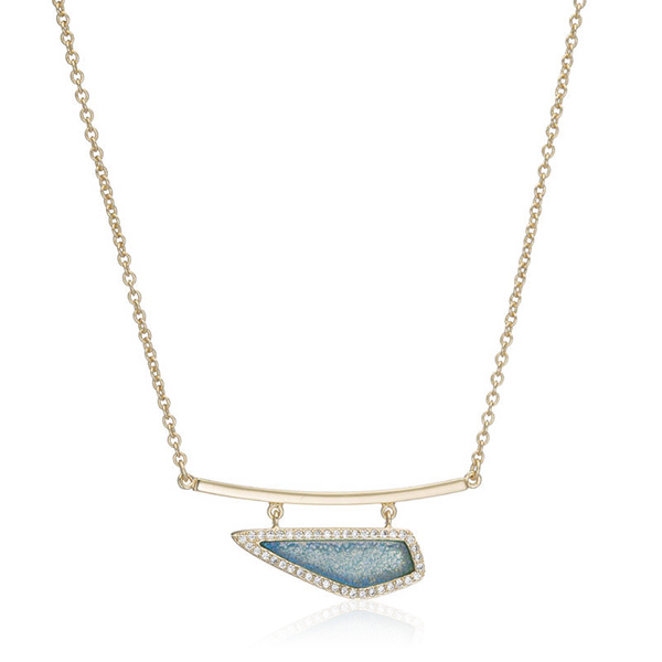 Blue Druzy Bar Necklace by Marcia Moran
