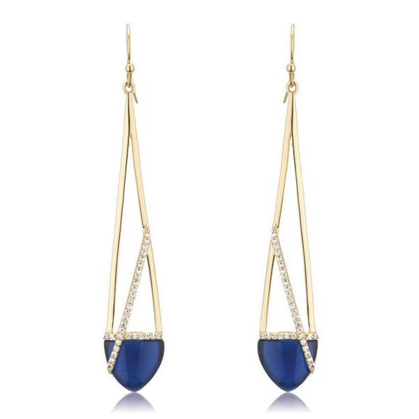 Blue Linear Earrings by MARCIA MORAN