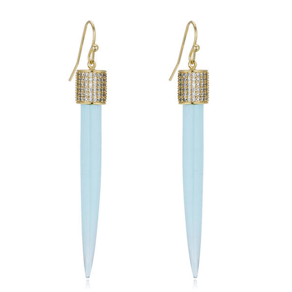 Blue Spike Drop Earrings by MARCIA MORAN