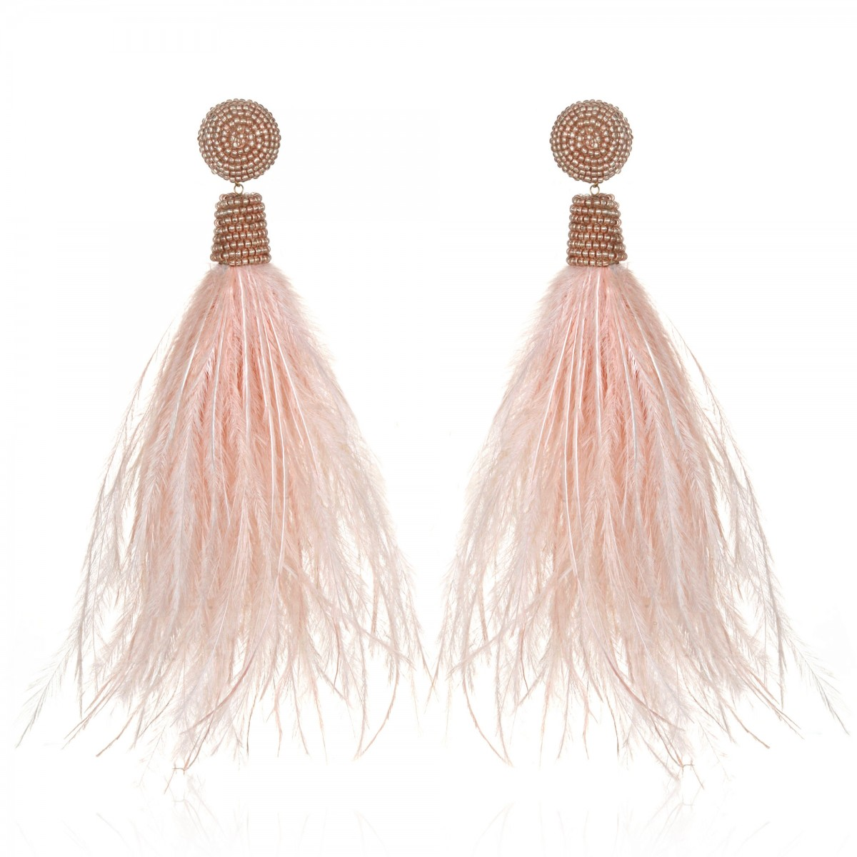Blush Feather Earrings by SUZANNA DAI