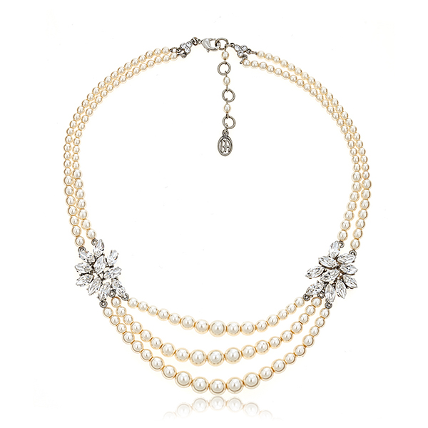 3 Row Pearl Crystal Necklace by BEN-AMUN