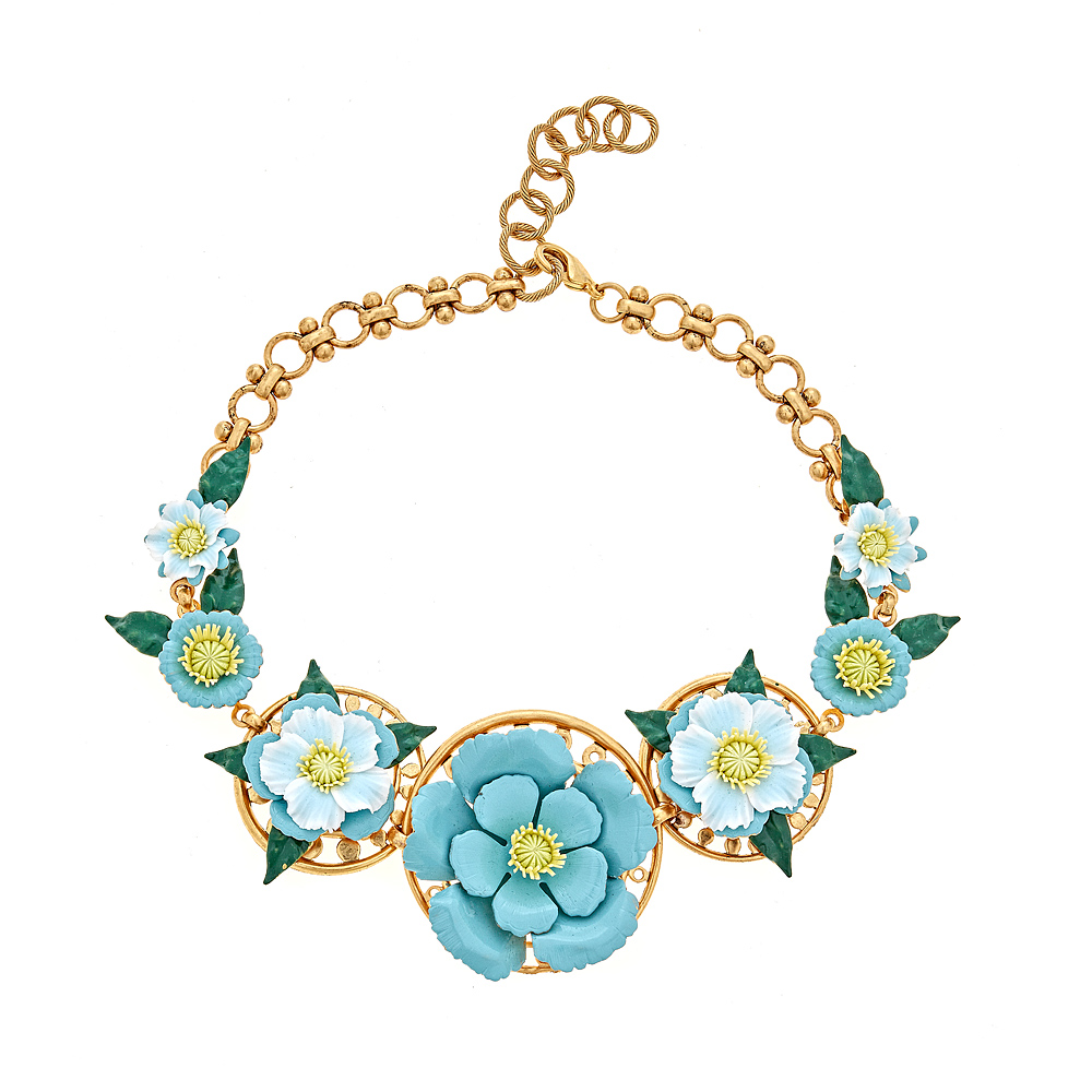Bodhi Turquoise Flower Necklace by ELIZABETH COLE