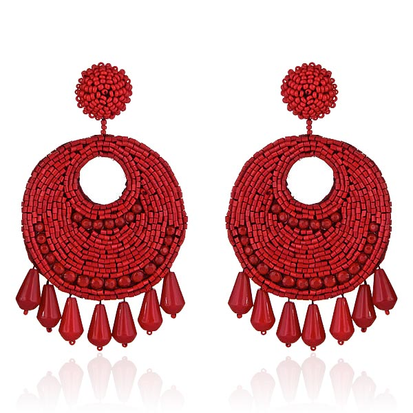 Gypsy Queen Red Coral Earrings by KENNETH JAY LANE