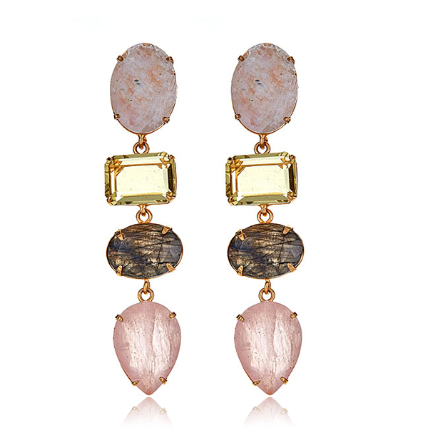 Bounkit Rose Quartz Earrings by BOUNKIT