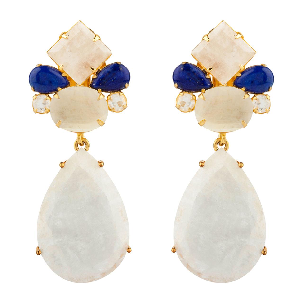 Lapis Moonstone Earrings by BOUNKIT